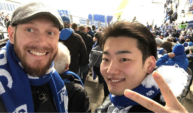 Georg and Shuntaro at a soccer game